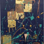 CALLE DE ORO (40x30 Mixed Media with Gold Leaf on Canvas)